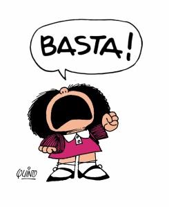 vignetta di Mafalda che dice Basta